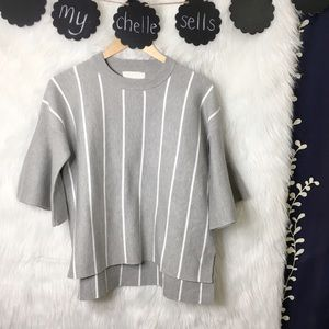 All:Row Striped Bell Sleeve Gray Sweater-P8